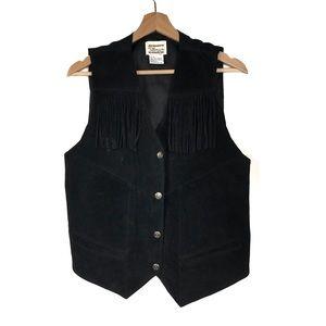 Tillman Vintage Black Western Leather Fringe Vest